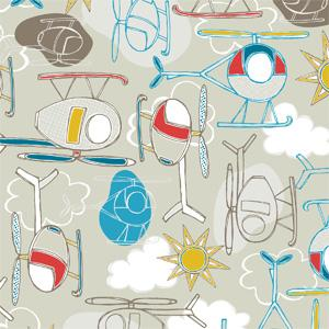 Camelot Fabrics - Take Flight - Light Taupe Helicopters