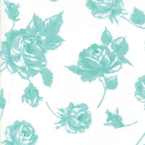 "Moda Smitten - 54"" Wide Lawn Aqua on Cream Rosy 55170-22LW"