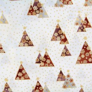 Stof Fabrics - Brilliant Christmas - Copper Trees on Ivory