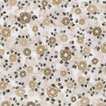 Robert Kaufman - La Scala 7 Metallic - Flowers Platinum