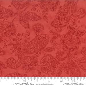 Moda Fabric Snowfall Prints - Poinsettia Paisley Toile