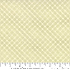 Moda Fabric Snowfall Prints - Green on Snow Bias Plaid