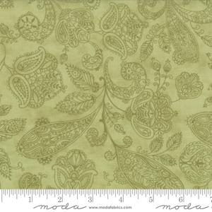 Moda Fabric Snowfall Prints - Garland Green Paisley Toile