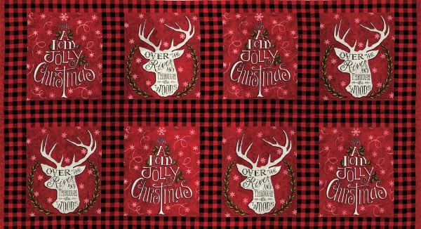 Moda Fabric - Hearthside Holidays - Berry Red Holly Jolly Christmas Blocks Panel