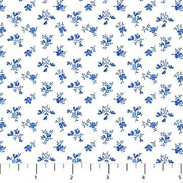 Porcelain Blue - Small Blue Flowers on White