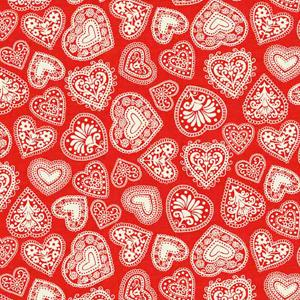 Makower Scandi 3 - Hearts Red