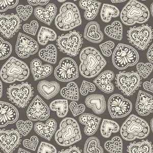 Makower Scandi 3 - Hearts Grey