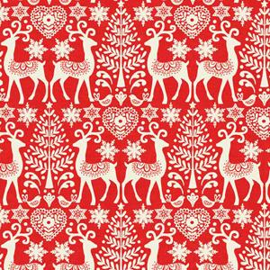 Makower Scandi 3 - Reindeer Red