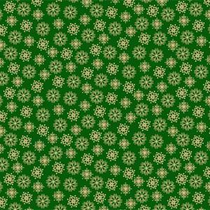 Makower Metallic - Snowflakes on Green