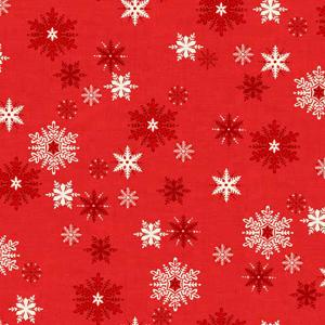 Makower Scandi 3 - Snowflakes Red