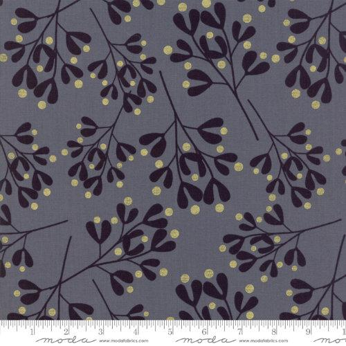 Moda Fabric - White Christmas Metallic - Graphite Mistletoe