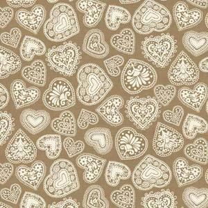 Makower Scandi 3 - Hearts Hessian