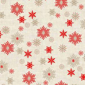 Makower Scandi 3 - Snowflakes Red Hessian