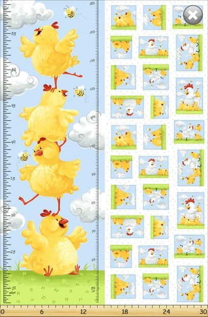 Susybee Textiles - Pippa The Hen Height Chart Panel