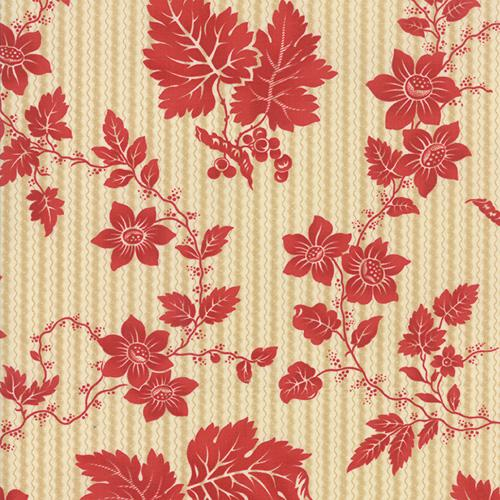 Moda Crazy for Red - Red on Ivory Etched Floral