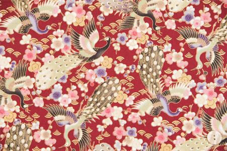 Quilt Gate - Hyakka Ryoran Peacock 3970-12 Red