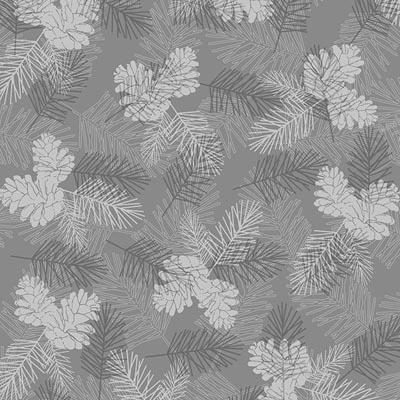 Henry Glass holiday Magic Tonal Pinecones Grey