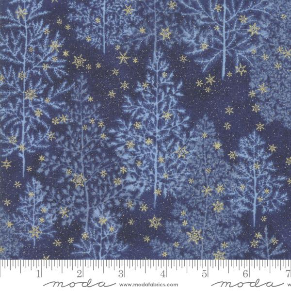 Moda Forest Frost Glitter - Pine Trees Night Sky