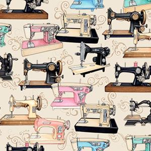 Quilting Treasures - Thimble Pleasures - Cream Sewing Machines