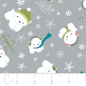 Camelot Fabrics - Winter Wonderland - Polar Bears in Stone