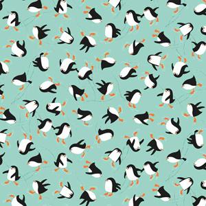 Makower Christmas 2017 Novelty - Penguins Turquoise