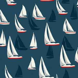 Makower Sea View - Sailboats Blue