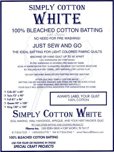 Fiberco Simply Cotton Wadding WHITE 90 inch wide