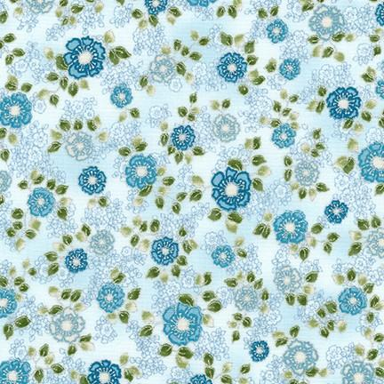 Robert Kaufman - La Scala 7 Metallic - Flowers Sky Blue
