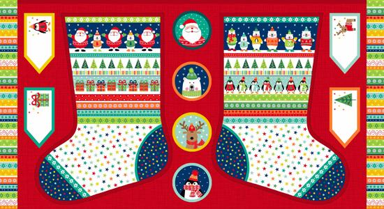 Makower Christmas 2017 Novelty - Large Stocking Panel