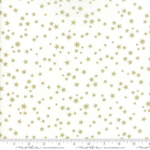 Moda Fabric - White Christmas Metallic - White Stars