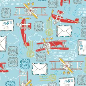 Camelot Fabrics - Take Flight - Light Blue Air Mail