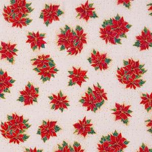 Makower Classic Poinsettia Cream