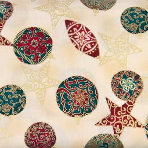 Stof Fabrics - Brilliant Christmas - Stars and Baubles on Gold