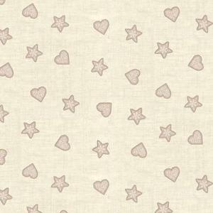 Makower Scandi II - Hearts and Stars Taupe