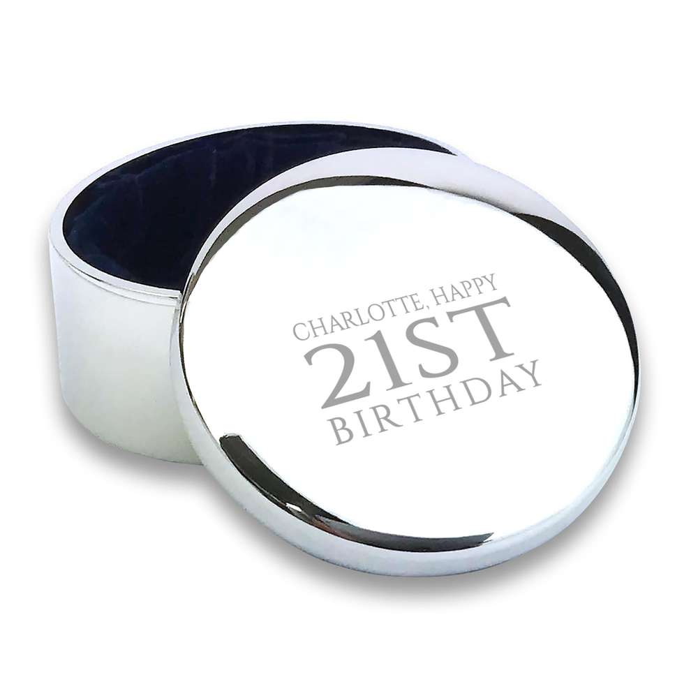 21st birthday engraved trinket box
