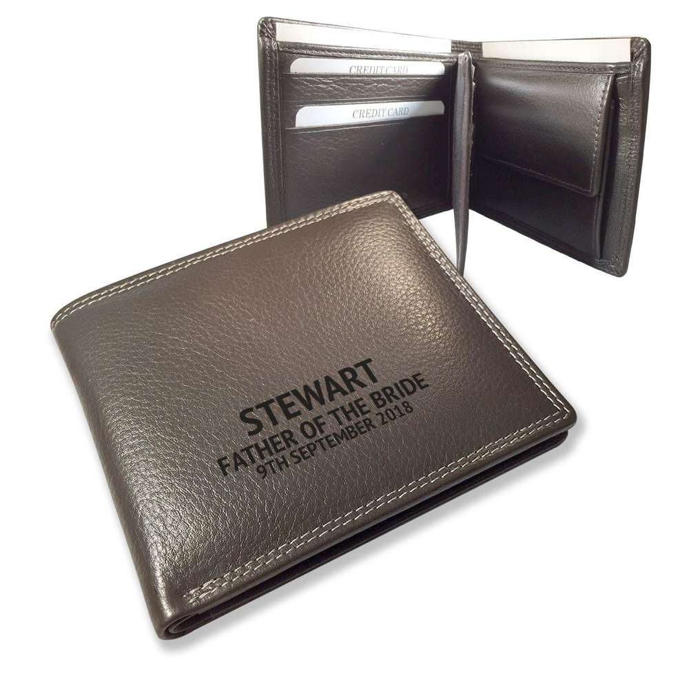 WALLET BROWN GENUINE REAL LEATHER CREDIT CARD HOLDER WOODEN GIFT BOX UK NEW WD2