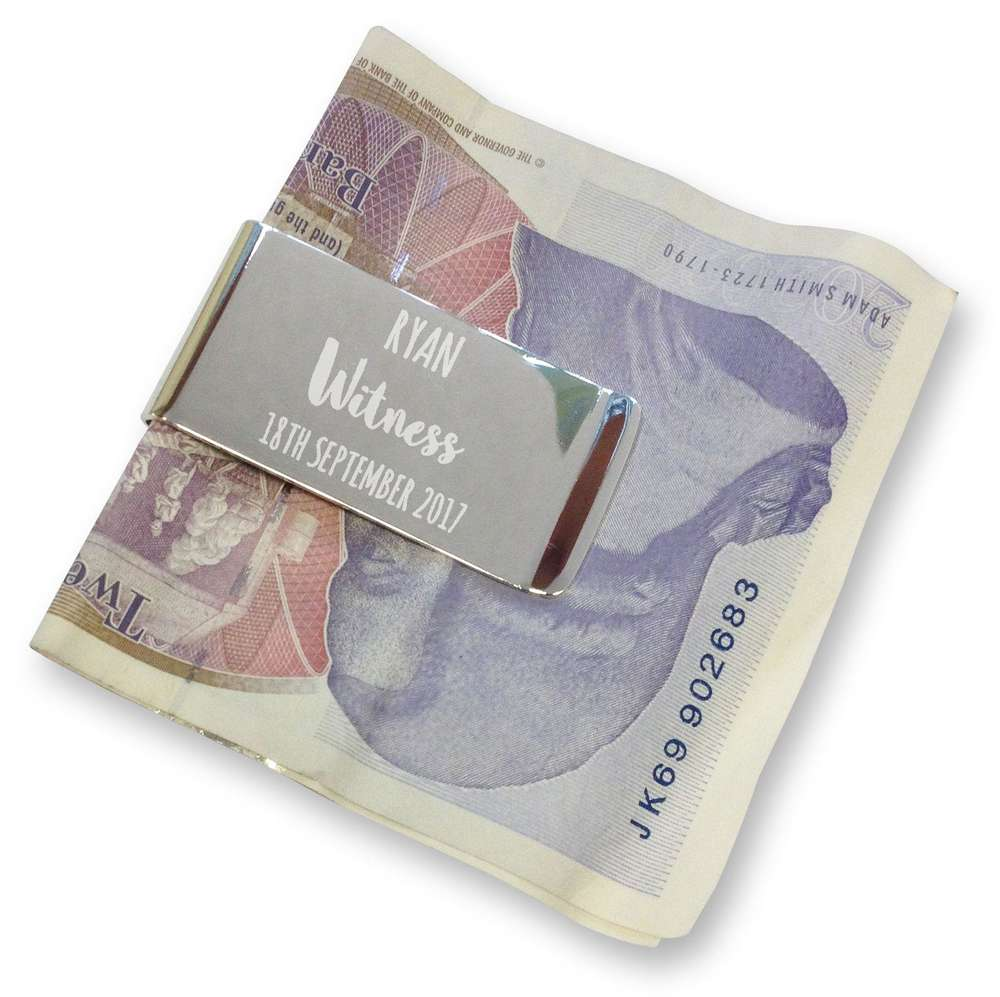 I Love You More with Heart Satin Chrome Plated Metal Money Clip