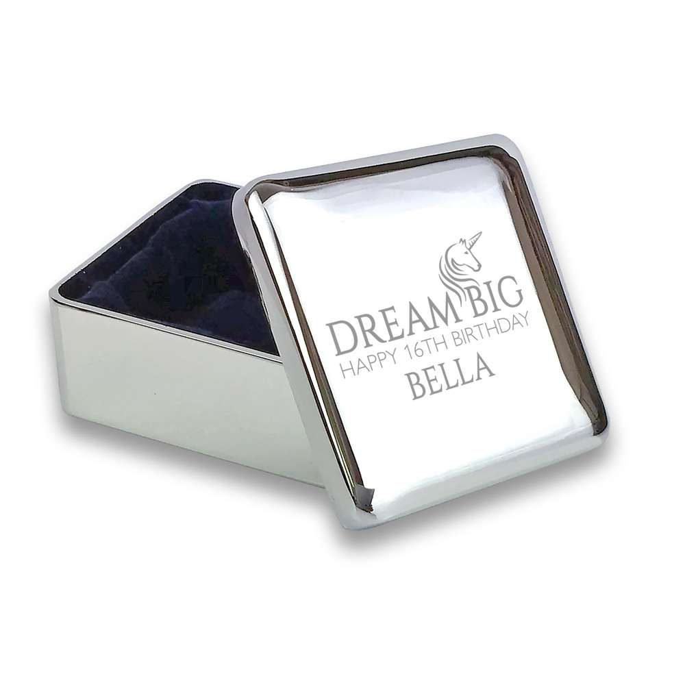 Engraved 16th Birthday Silver Plated Trinket Box Gift