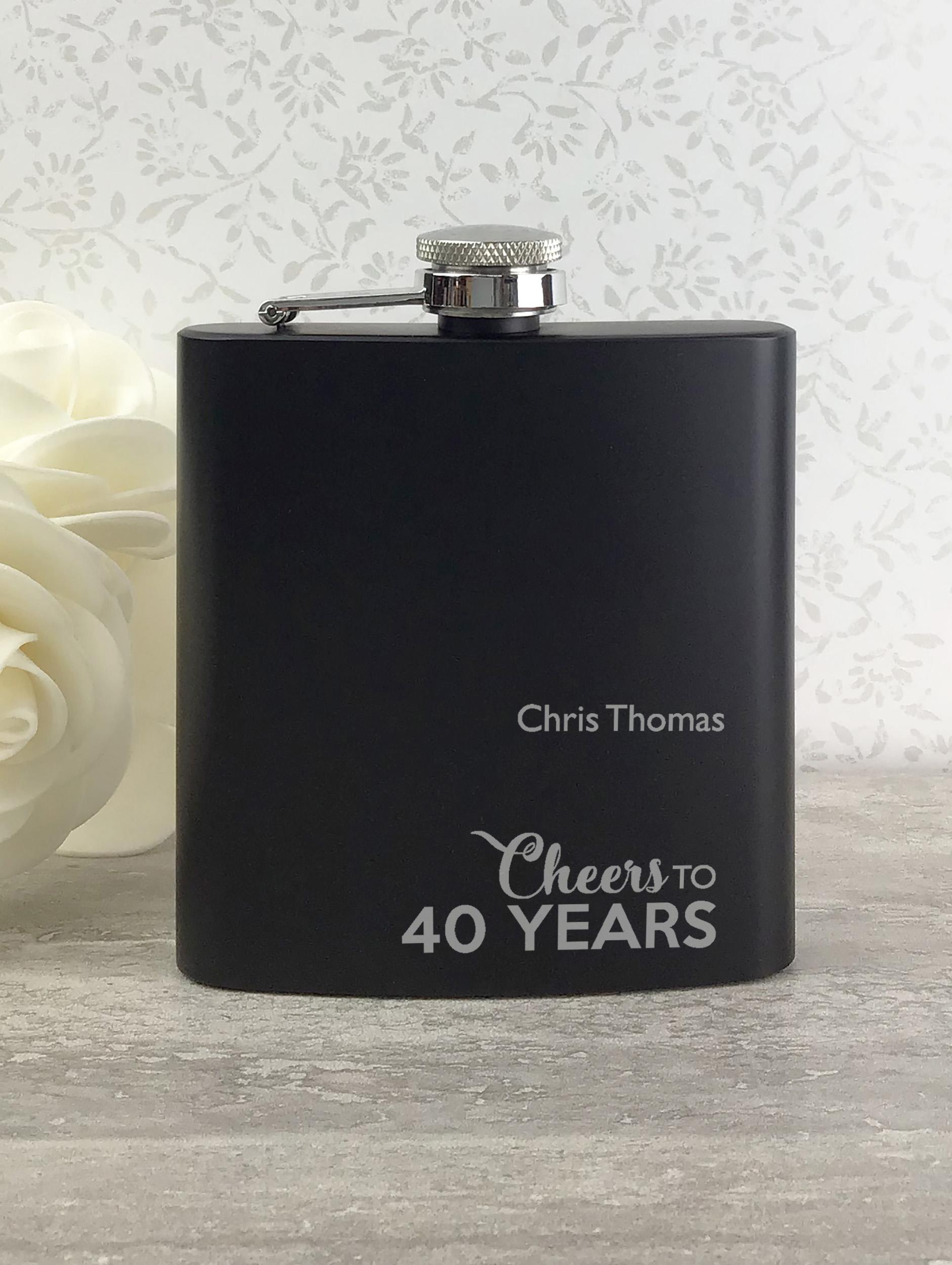 40th Birthday Engraved Hip Flask with Dad Feature in Gift Box