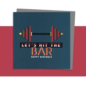 Weightlifting Themed Birthday Card Alongside Its Dark Grey Envelope