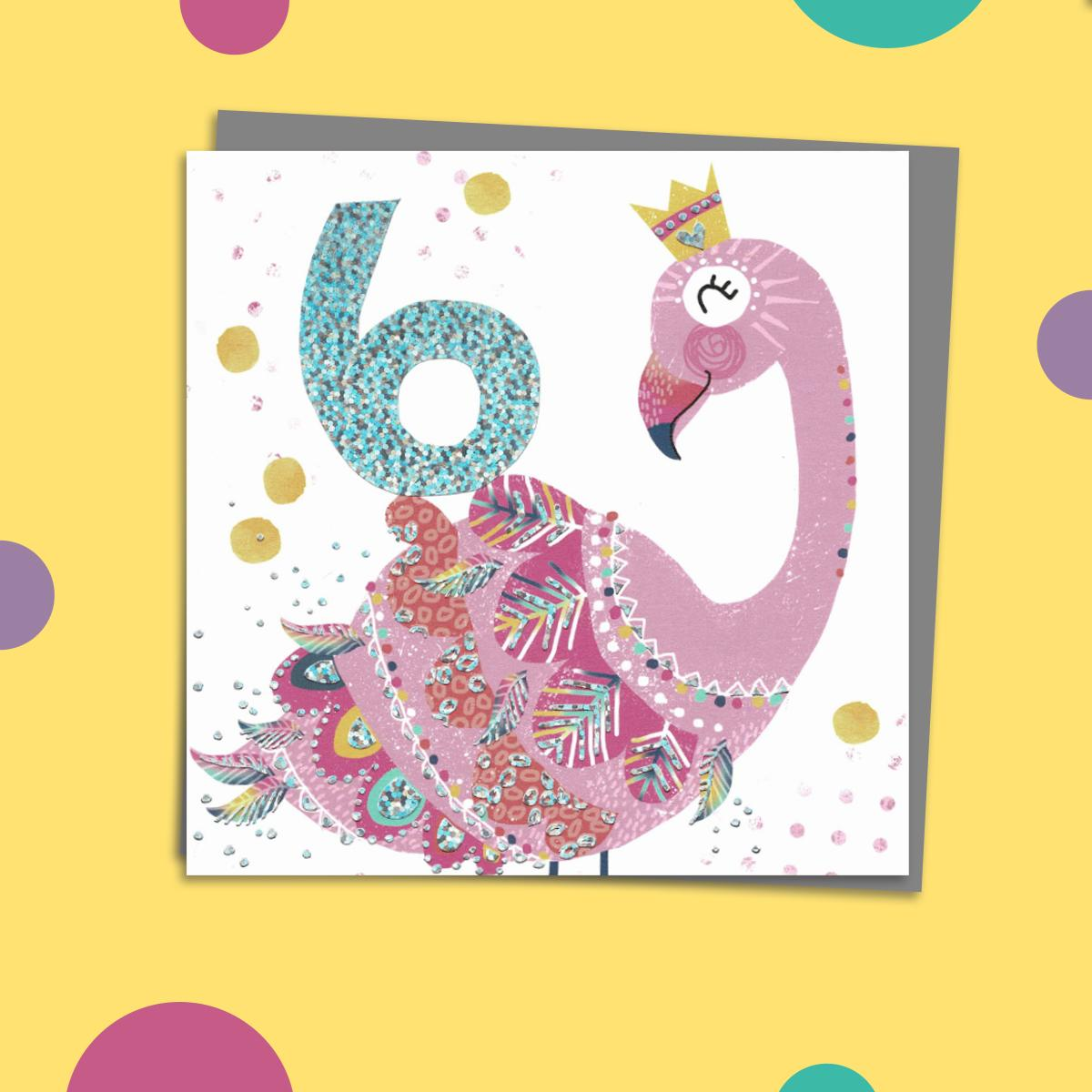 Flamingo Themed Age 6 Birthday Card Alongside Its Dark Grey Envelope