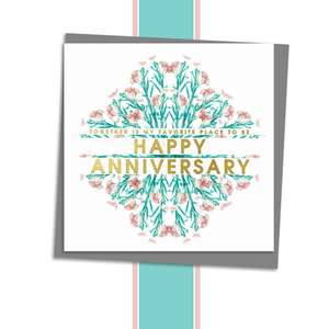 Our Anniversary Floral Birthday Card Alongside Its Dark Grey Envelope