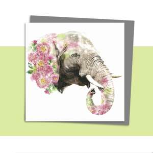 Floral Elephant Blank Card Alongside Its Dark Grey Envelope