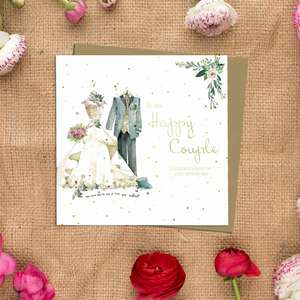 Happy Couple Wedding Day Card Alongside Its Kraft Envelope