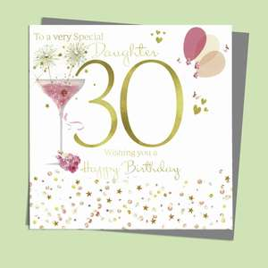Daughter 30th Birthday Card Alongside Its Silver Envelope