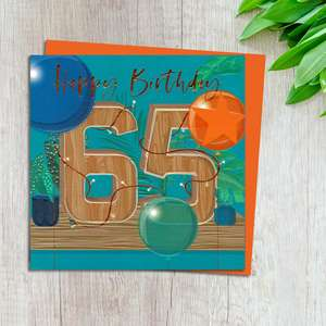 Age 65 Birthday Card Design Complete With Neon Orange Envelope