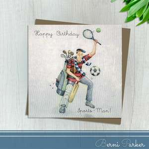 Showing A Man With Football, Tennis Racquet, Golf Bag, Cricket Bat And Rugby Ball. Caption: Happy Birthday Sports - Man. Blank Inside For Own Message. Complete With Brown Kraft Envelope