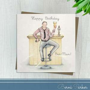 Showing A man Sitting At A Bar With Pint In Hand. Caption: Happy Birthday Bar - Man! Blank Inside For Own Message. Complete With Brown Kraft Envelope