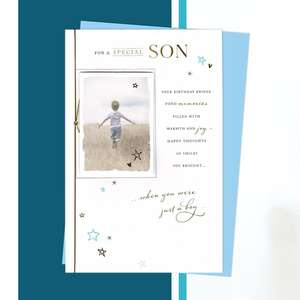 Special Son Birthday Card Alongside Its Light Blue Envelope