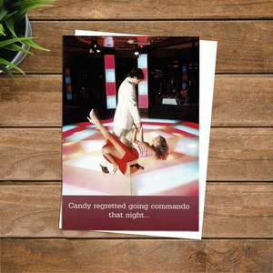 Disco Themed Funny Greeting Card Alongside Its White Envelope